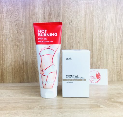 [Combo Tiết Kiệm] Viên Uống Tan Mỡ Bụng Demar87 Cell Genie + Gel Tan Mỡ Missha Hot Burning Gel 200ml 3
