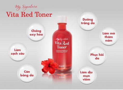 Nước Hoa Hồng Dưỡng Trắng, Se Khít Lỗ Chân Lông Tiam My Signature Vita Red Toner 130ml 4